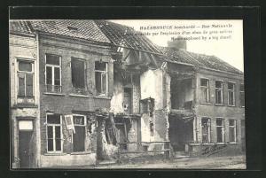 AK Hazebrouck, Rue Nationale, im Krieg zerstörtes Haus
