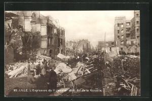 AK Lille, Boulevard de la Moselle, L`Explosion du 11 Janvier 1916