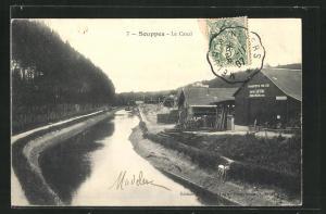 AK Souppes, Le Canal, Transports par Eau Gaston Leveau