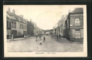 AK Bailleul, Rue d`Ypres, Strassenpartie