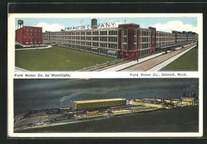 Künstler-AK Detroit, MI, Ford Moter Co., Ford Moter Co. by Moonlight