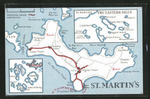 Künstler-AK St. Martin`s, Landkarte mit Chapel Down, St. Martins Bay und Little Bay