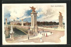 Lithographie Paris, Pont Alexandre III.