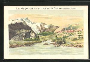 Lithographie La Meije / Hautes-Alpes, Vue de La Grave