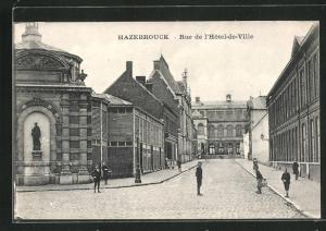 AK Hazebrouck, Rue de l`Hotel-de-Ville, Strassenpartie