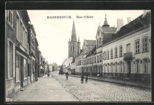 AK Hazebrouck, Rue d`Aire, Strassenpartie