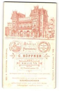 Fotografie C. Höpfner, Halle a/S, rücks. Ansicht Halle a/S, Atelier Poststr. 13, vorders. Portrait junge Dame