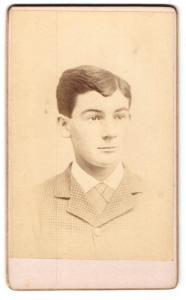 Fotografie Richardson & Co., Marlboro, MASS, Portrait Portrait hübscher Bube im karierten Jackett