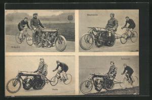 AK Radsportler Salzmann, Theile und Guignard hinter ihren Dernys beim Steherrennen