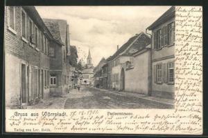 AK Wörrstadt, Pariserstrasse mit Kirchblick
