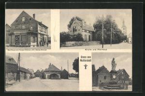 AK Wulferstedt, Kaufhaus von Hubert Sinner, Kirche und Pfarrhaus