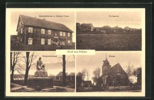 AK Völpke, Kolonialwaren von Richard Teute, Kriegerdenkmal