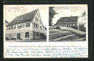AK Mainhardt, Gasthaus und Metzgerei zur Sonne, Pension von Fr. Braun
