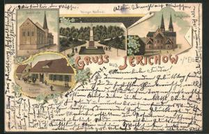 Lithographie Jerichow a/d Elbe, Postamt, Stadt-Kirche, Amtskirche, Krieger-Denkmal
