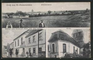 AK Klein-Ammensleben, Gasthof zum Schwarzen Adler, Kirche, Gesamtansicht