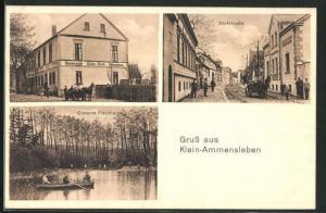 AK Klein-Ammensleben, Gastwirtschaft Gustav Busch, Dorfstrasse, Conerts Fischteich