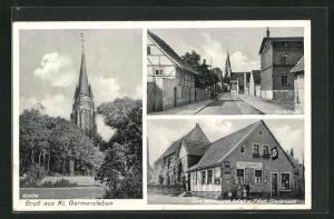 AK Klein Germersleben, Zum schwarzen Adler mit , Kirche, Dorfstrasse