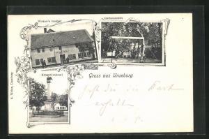 AK Unseburg, Wietzer`s Gasthof, Gartenansicht, Kriegerdenkmal