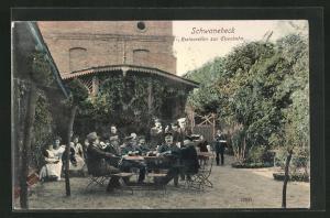 AK Schwanebeck, Restauration zur Eisenbahn, Gartenansicht