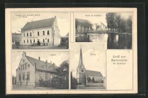 AK Barnstädt, Gasthof zum goldenen Hirsch, Dorfteich, Schule und Kirche
