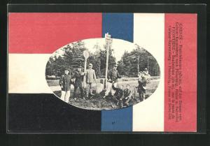 AK Diedolshausen, Strasse von Colmar nach Plainfaing, Deutsch-französische Grenze, Grenzsoldaten, Fahnen