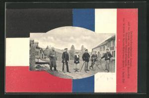 AK Grenze, Strasse von Markirch nach Saint-Die, Deutsch-französische Grenze, Grenzsoldaten, Fahnen