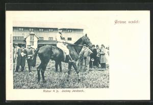 AK Pferdesport, Jockey auf Pferd, Robur 4 jr. Jockey Jerabeck