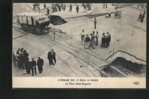 AK Paris, L`Orage du 15 Juin, La Place Saint-Augustin, Platz nach dem Erdrutsch
