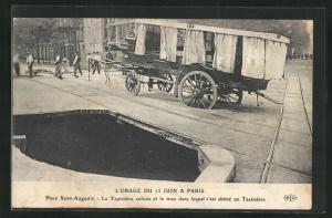 AK Paris, L`Orage du 15 Juin, Place Saint-Augustin, La Papissiere enlizee, Platz nach dem Erdrutsch