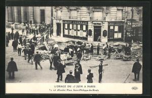 AK Paris, L`Orage du 15 Juin, Le sol effondre Place Saint-Philippe-du-Roule, Platz nach einem Erdrutsch