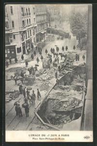 AK Paris, L`Orage du 15 Juin, Place Saint-Philippe-du-Roule, Platz nach dem Erdrutsch