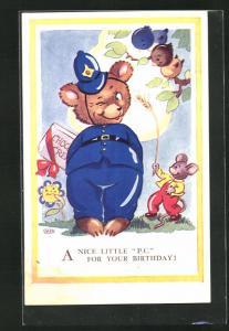 Künstler-AK A nice little P.C. for your Birthday, Teddy als Polizist