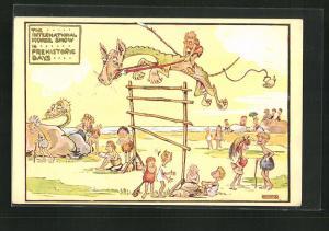 Künstler-AK London, International Horse Show 1913, Urmenschen veranstalten ein Reitturnier