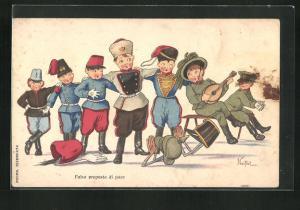 AK Falsa proposta di pace, Kindersoldaten mit Türke, Italiener und Russe