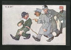 Künstler-AK L. Schrabal: Zeleznicári - To Je On!, Scherz, Polizei