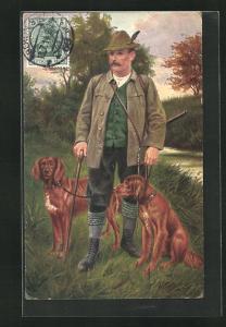 AK Jäger mit seinen Hunden auf der Jagd
