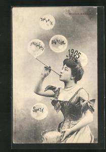 AK Dame produziert Seifenblasen, Diadem mit Jahreszahl 1905