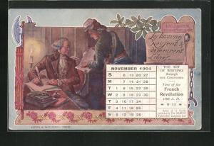 AK Declaration des Droits de l`Homme, Les Hommes naissent & demeurent Libres, Kalenderblatt November 1904