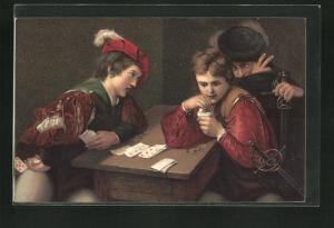 Künstler-AK Falschspieler beim Kartenspiel
