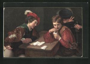 Künstler-AK The Cheat, Falschspieler beim Kartenspiel