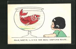 AK Gruss zum 1. April, Mädchen vorm Goldfischglas