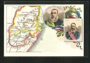 AK Landkarte von Transvaal, Präsident Paul Krüger, General Joubert, Burenkrieg