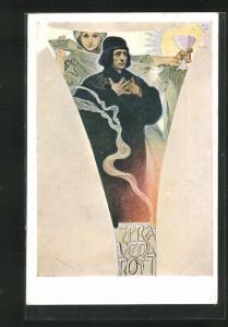 Künstler-AK Alphonse Mucha: La Justice, Spravedlnost, Frau steht mit Kelch hinter Mann