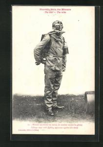 AK Arbeiter mit Gasmaske im Bergbau, Mineur sauveteur en tenue de combat contre le grison