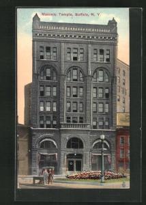 AK Buffalo, NY, Masonic Temple, Freimaurer