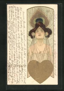 Künstler-AK Raphael Kirchner: Legendes, Schönes Mädchen mit goldenem Herzen vor einer Pfauenfeder
