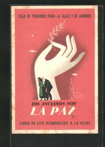 AK Caja de Pensiones para la Vejez y de Ahorros, Los ancianos son La Paz, Altes Paar läuft vor einer Hand und Kirche