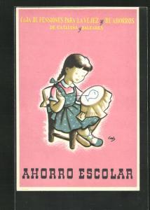 AK Ahorro Escolar, Caja de Pensiones para la Vejez y de Ahorros de Cataluna y Baleares, Mädchen mit Stickrahmen, Bank