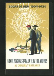 AK Caja de Pensiones para la Vejez y de Ahorros de Cataluna y Baleares, Bodas de Oro 1904-1954, Altes Paar, Bank