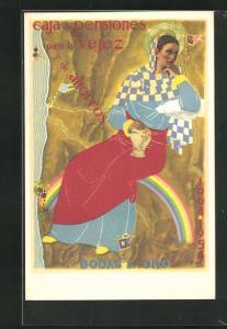 AK Bank, Caja de Pensiones para la Vejez y de ahorros, Bodas de Oro, Frau sitzt auf einem Regenbogen
